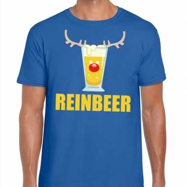 Feestwinkel   foute kerstborrel t-shirt blauw reinbeer heren morgen a