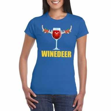 Feestwinkel   foute kerstborrel t-shirt blauw winedeer dames morgen a