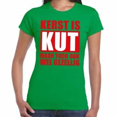 Feestwinkel   foute kerstborrel t-shirt groen kerst is kut maar ook g