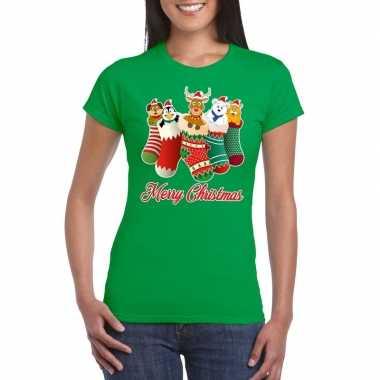 Feestwinkel | foute kerstborrel t-shirt groen kerstsokken met diertje