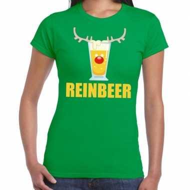 Feestwinkel | foute kerstborrel t-shirt groen reinbeer dames morgen a