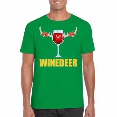 Feestwinkel | foute kerstborrel t-shirt groen winedeer heren morgen a