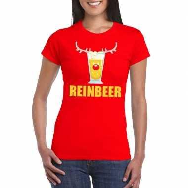 Feestwinkel | foute kerstborrel t-shirt rood reinbeer dames morgen am
