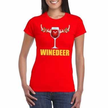 Feestwinkel | foute kerstborrel t-shirt rood winedeer dames morgen am