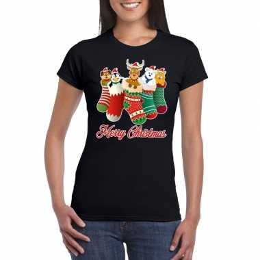 Feestwinkel | foute kerstborrel t-shirt zwart kerstsokken met diertje