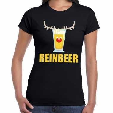 Feestwinkel | foute kerstborrel t-shirt zwart reinbeer dames morgen a
