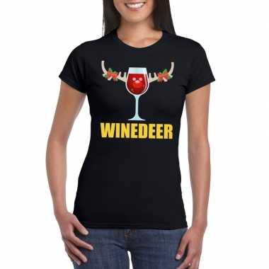 Feestwinkel | foute kerstborrel t-shirt zwart winedeer dames morgen a