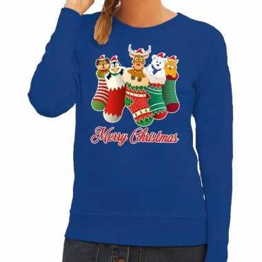 Feestwinkel | foute kerstborrel trui blauw kerstsokken met diertjes v