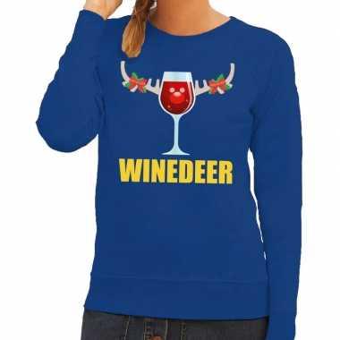 Feestwinkel | foute kerstborrel trui blauw winedeer dames morgen amst