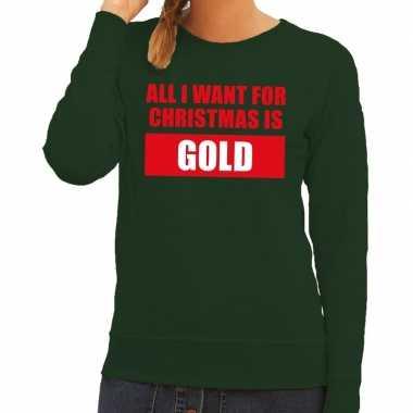 Feestwinkel | foute kerstborrel trui groen all i want is gold dames m