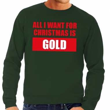 Feestwinkel | foute kerstborrel trui groen all i want is gold heren m