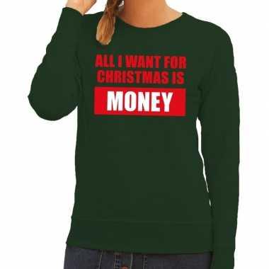 Feestwinkel | foute kerstborrel trui groen all i want is money dames