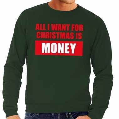 Feestwinkel | foute kerstborrel trui groen all i want is money heren