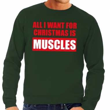 Feestwinkel | foute kerstborrel trui groen all i want is muscles here