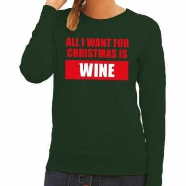 Feestwinkel | foute kerstborrel trui groen all i want is wine dames m