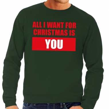Feestwinkel | foute kerstborrel trui groen all i want is you heren mo