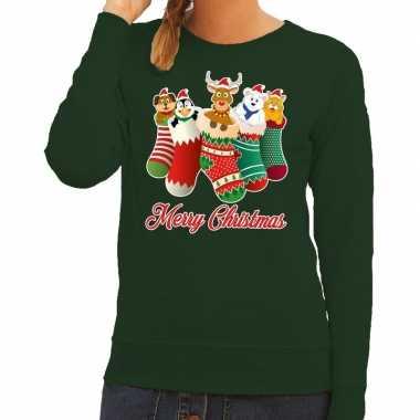 Feestwinkel | foute kerstborrel trui groen kerstsokken met diertjes v