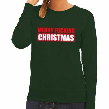 Feestwinkel | foute kerstborrel trui groen merry fucking christmas da