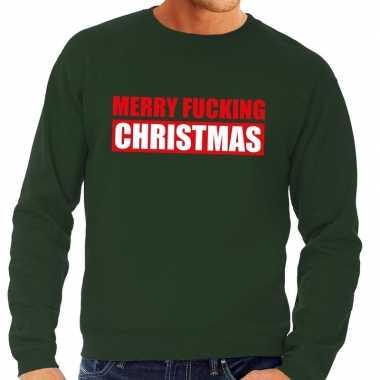 Feestwinkel | foute kerstborrel trui groen merry fucking christmas he