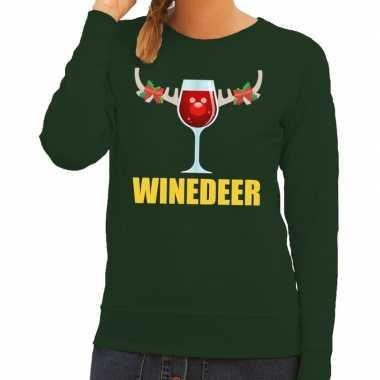 Feestwinkel | foute kerstborrel trui groen winedeer dames morgen amst