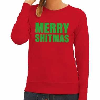 Feestwinkel | foute kerstborrel trui rood merry shitmas dames morgen