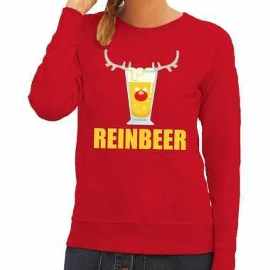 Feestwinkel | foute kerstborrel trui rood reinbeer dames morgen amste