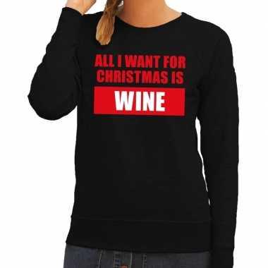 Feestwinkel | foute kerstborrel trui zwart all i want is wine dames m