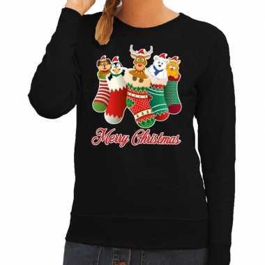 Feestwinkel   foute kerstborrel trui zwart kerstsokken met diertjes v