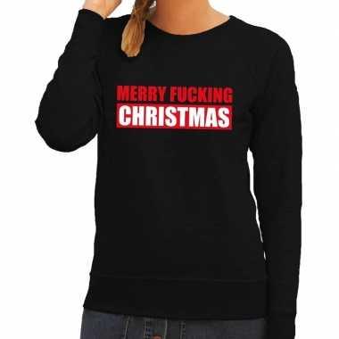 Feestwinkel | foute kerstborrel trui zwart merry fucking christmas da