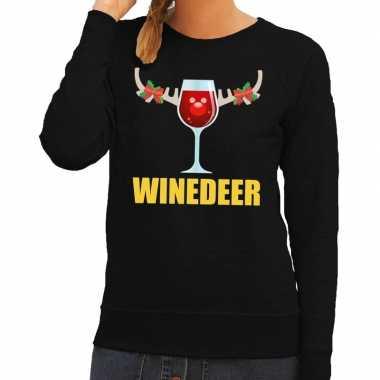 Feestwinkel | foute kerstborrel trui zwart winedeer dames morgen amst