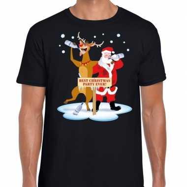 Feestwinkel | foute kerstmis shirt zwart met een dronken kerstman en