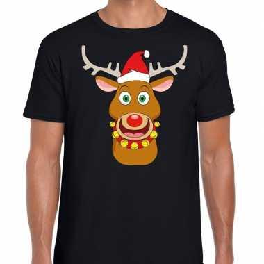 Feestwinkel | foute kerstmis shirt zwart met ruldolf het rendier met