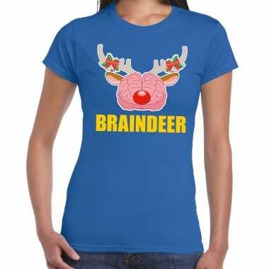 Feestwinkel | foute kerstmis t-shirt braindeer blauw voor dames morge