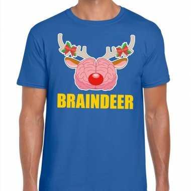 Feestwinkel | foute kerstmis t-shirt braindeer blauw voor heren morge