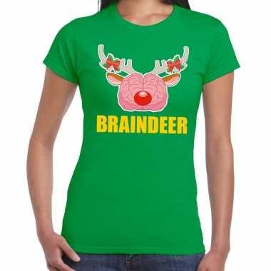 Feestwinkel | foute kerstmis t-shirt braindeer groen voor dames morge