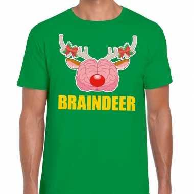 Feestwinkel | foute kerstmis t-shirt braindeer groen voor heren morge