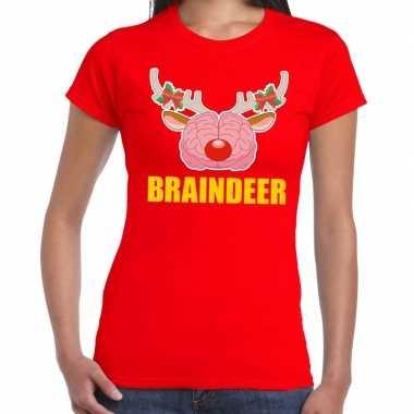 Feestwinkel | foute kerstmis t-shirt braindeer rood voor dames morgen