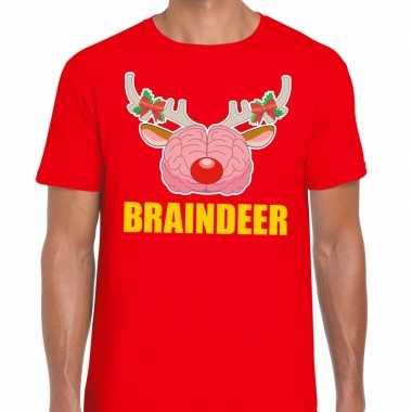 Feestwinkel | foute kerstmis t-shirt braindeer rood voor heren morgen