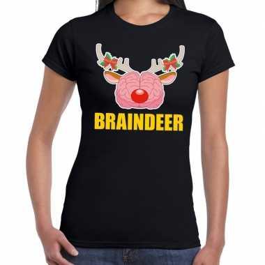 Feestwinkel | foute kerstmis t-shirt braindeer zwart voor dames morge