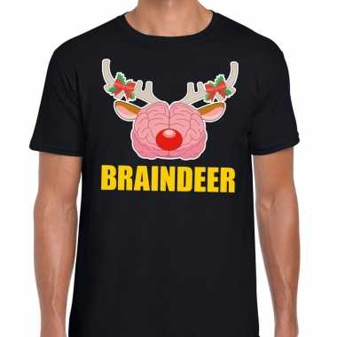 Feestwinkel | foute kerstmis t-shirt braindeer zwart voor heren morge