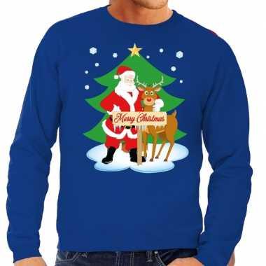 Feestwinkel   foute kersttrui blauw met de kerstman en rudolf voor he