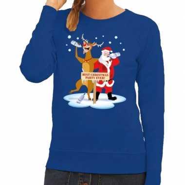 Feestwinkel | foute kersttrui blauw met een dronken kerstman en rudol