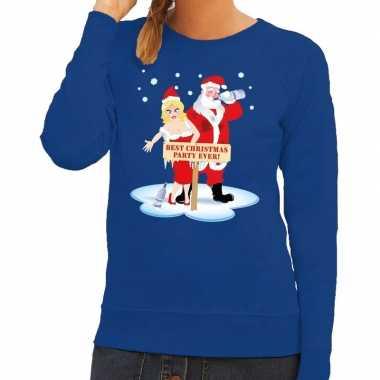 Feestwinkel | foute kersttrui blauw met een dronken kerstman en zijn