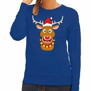 Feestwinkel | foute kersttrui blauw met ruldolf het rendier met rode