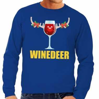 Feestwinkel | foute kersttrui blauw met wijntje heren morgen amsterda