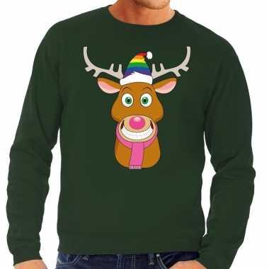 Feestwinkel | foute kersttrui groen gay ruldolf regenboog muts en roz