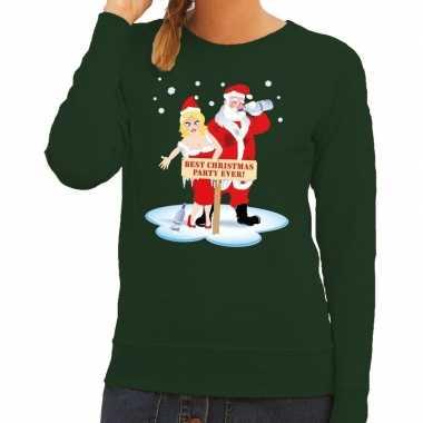 Feestwinkel | foute kersttrui groen met een dronken kerstman en zijn