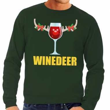 Feestwinkel | foute kersttrui groen met wijntje heren morgen amsterda