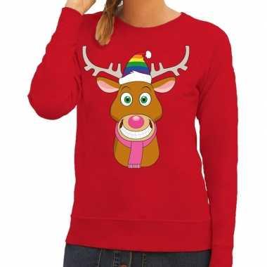 Feestwinkel   foute kersttrui rood gay ruldolf regenboog muts en roze