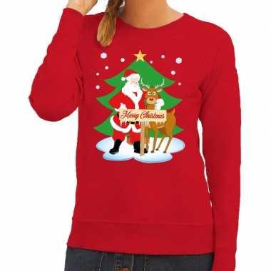 Feestwinkel | foute kersttrui rood met de kerstman en rudolf voor dam